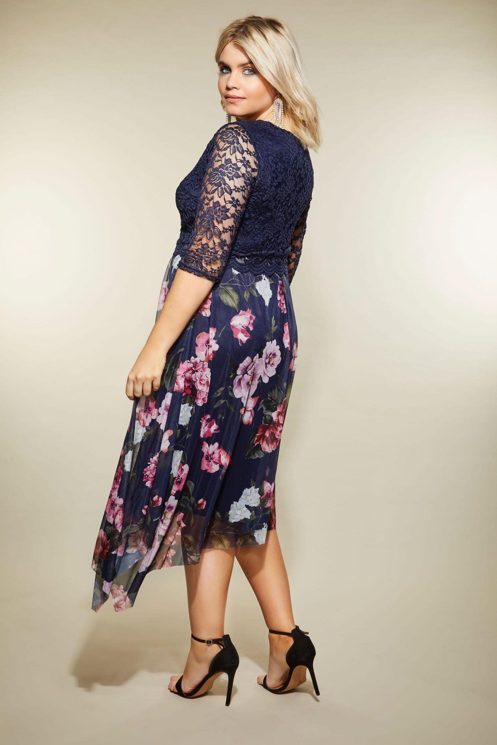 Yours London Navyblaues  Pinkes Kleid Mit Blumenprint