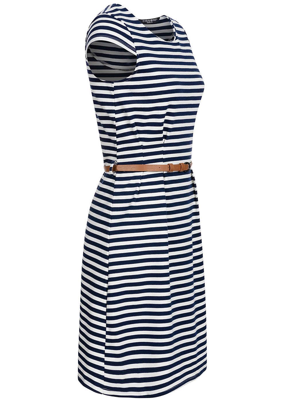 Zabaione Damen Tshirt Kleid Streifen Muster Inkl Gürtel