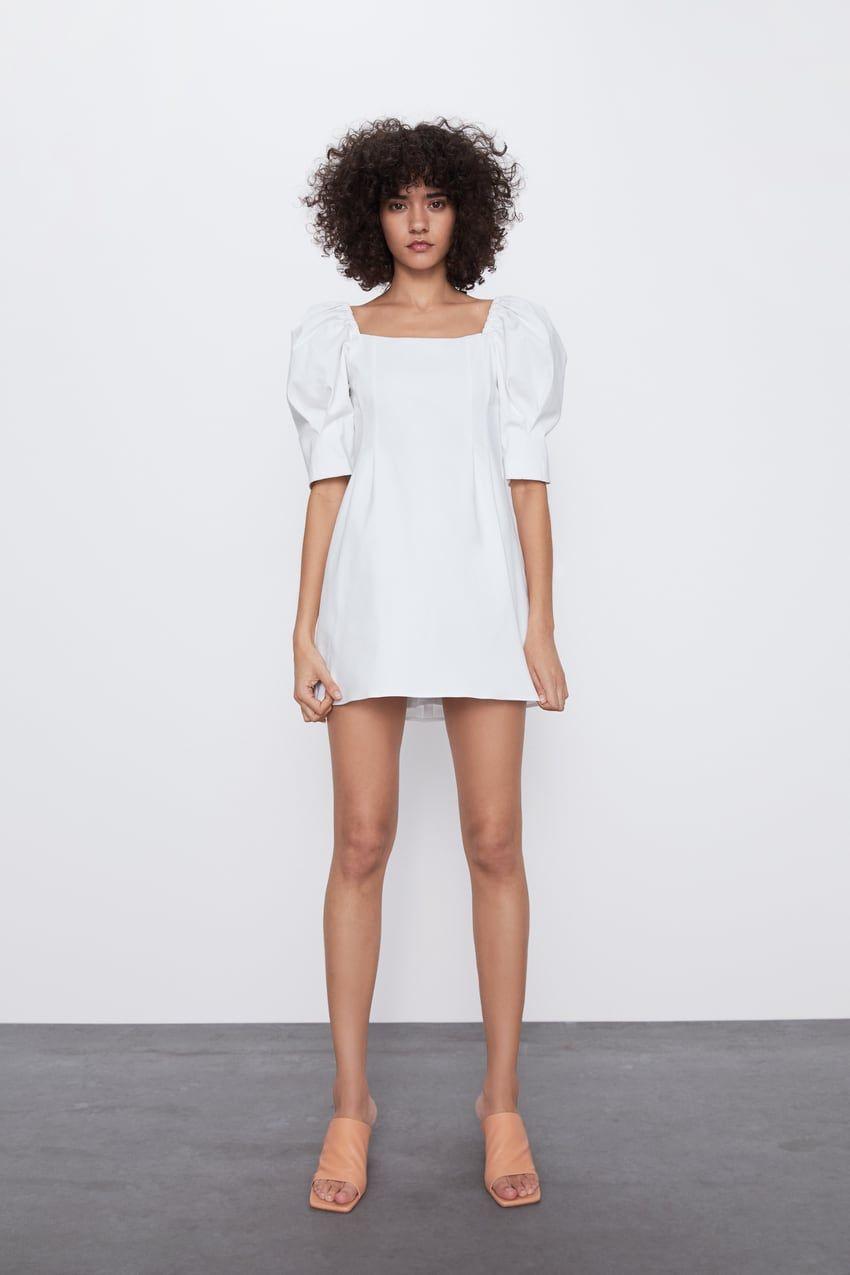 Zara    Платье С Объемными Рукавами In 2020  Kurze