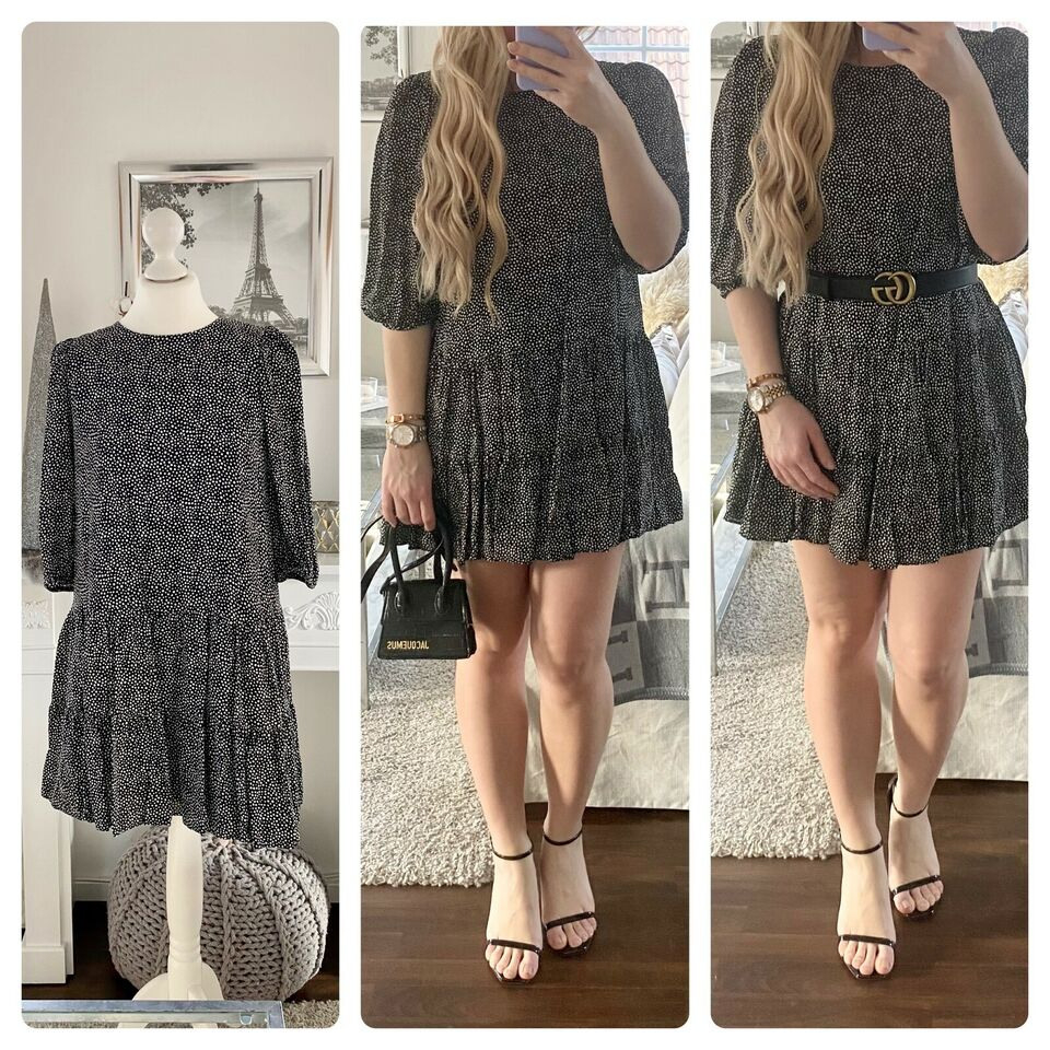 Zara Größe M Bluse Tunika Kleid Punkte Schwarz Weiß Dots