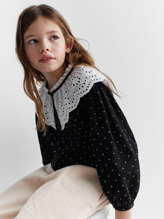 Zara  Kids  Contrasting Blouse With Dotted Mesh In 2020