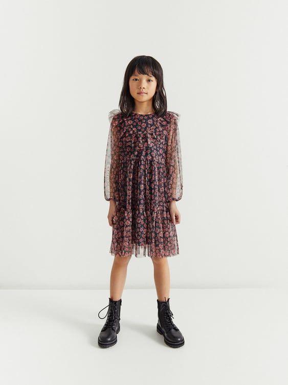 Zara  Kids  Floral Tulle Dress In 2020  Modestil Kleider
