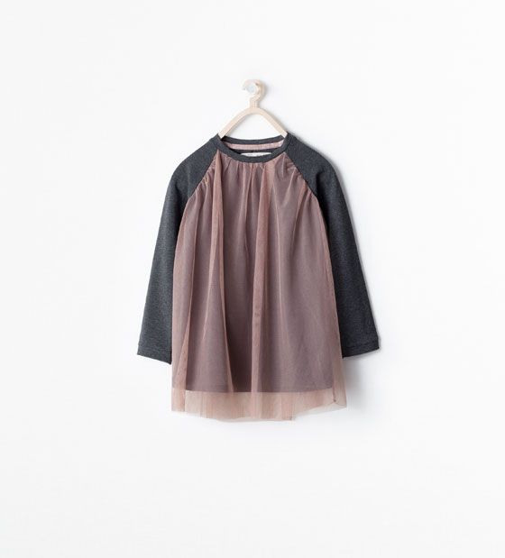 Zara  Kids  Large Combined Tulle Blouse In Love