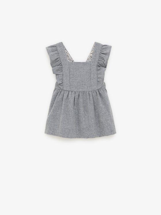 Zara  Kids  Ruffled Flannel Pinafore Dress  Baby