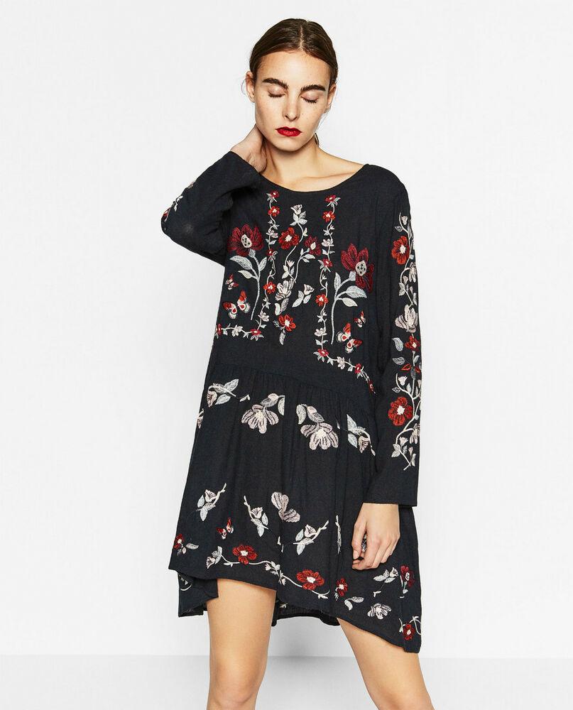 Zara Kleid Mit Stickerei Grl  Ebay