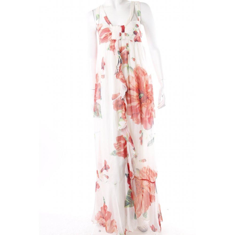 Zara Maxikleid Blumenmuster Damen Gr De 36 Weiß Kleid