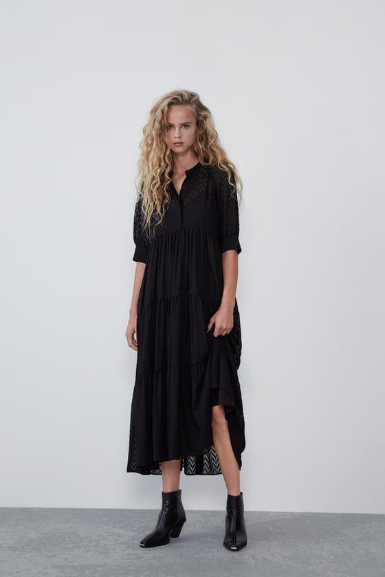 Zara  Mujer  Vestido Plumeti  Netzkleid Kleider Für