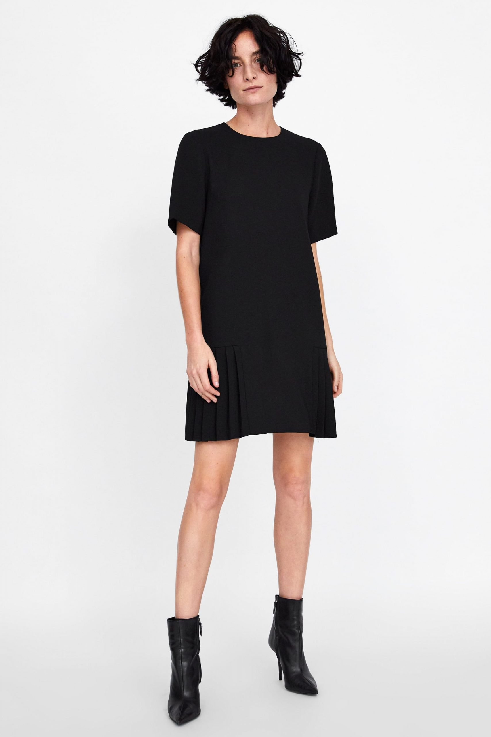 Zara  New Collection  Vestido Com Pregas  Pleated Dress