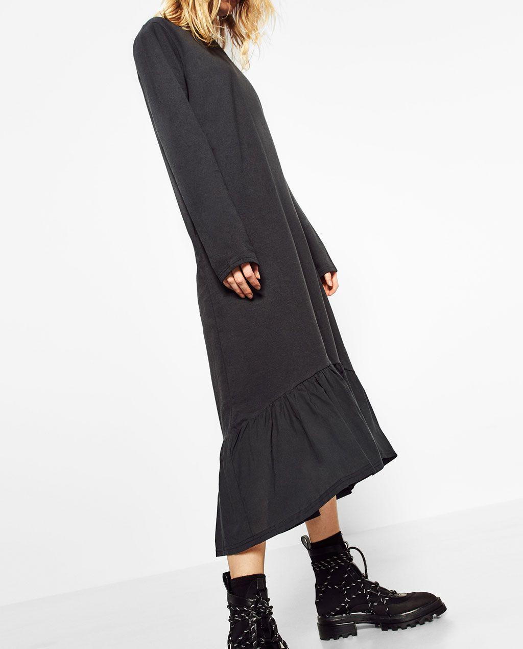Zara  Sale  Long Dress With Hem Frill  Frau Damen