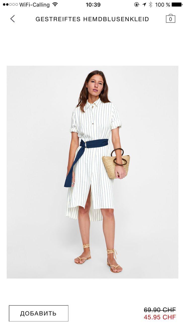 Zara Stripped Dress Summer 2018  Hemdblusenkleid