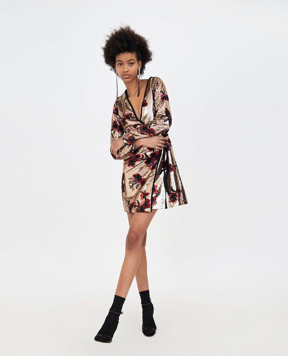 Zara  Trf  Crossover Dress With Sequins  Pailletten