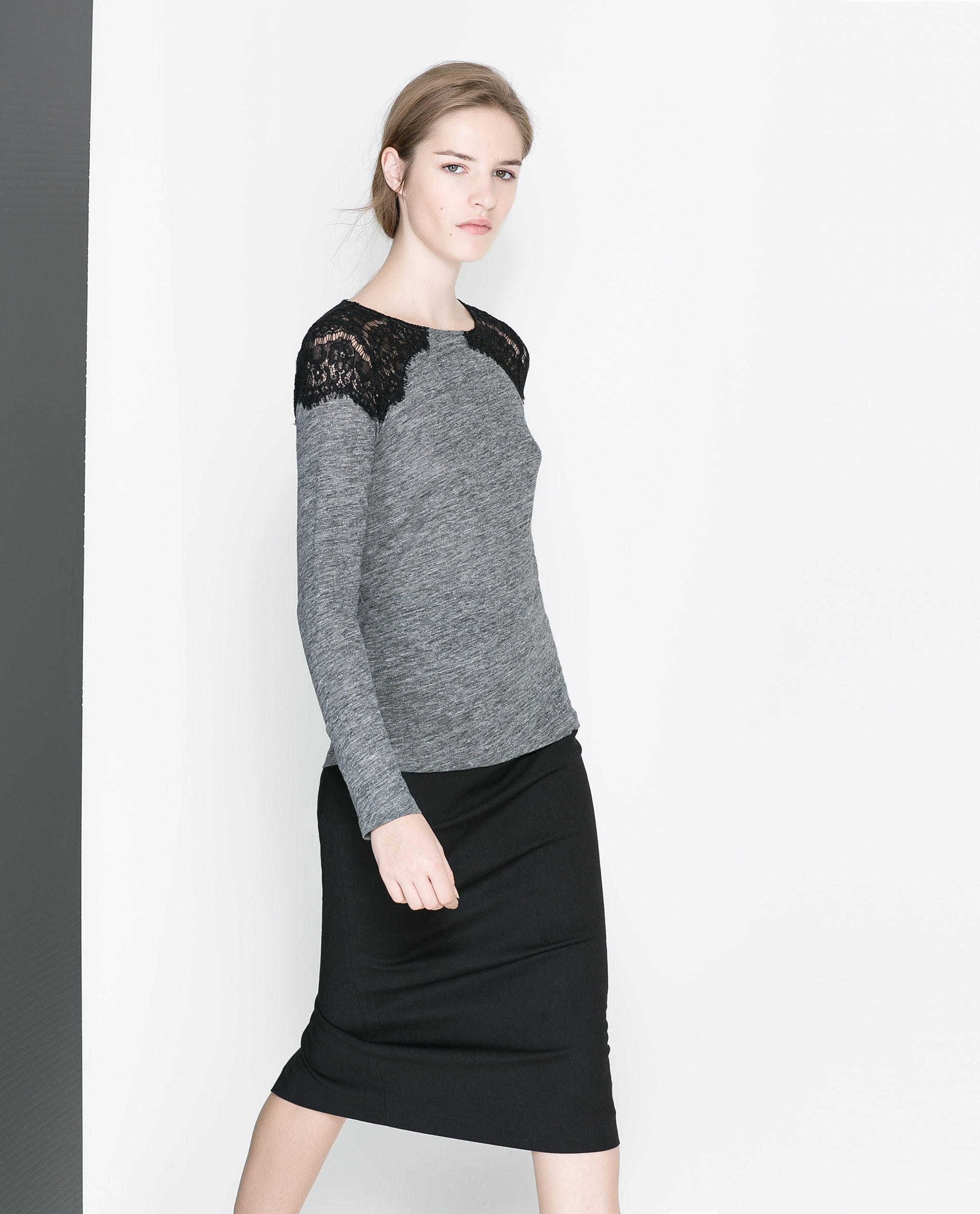 Zara Tshirt With Lace Shoulders In Gray  Lyst