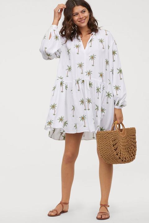 Zara Weißes Kleid Mit Blumenstickerei