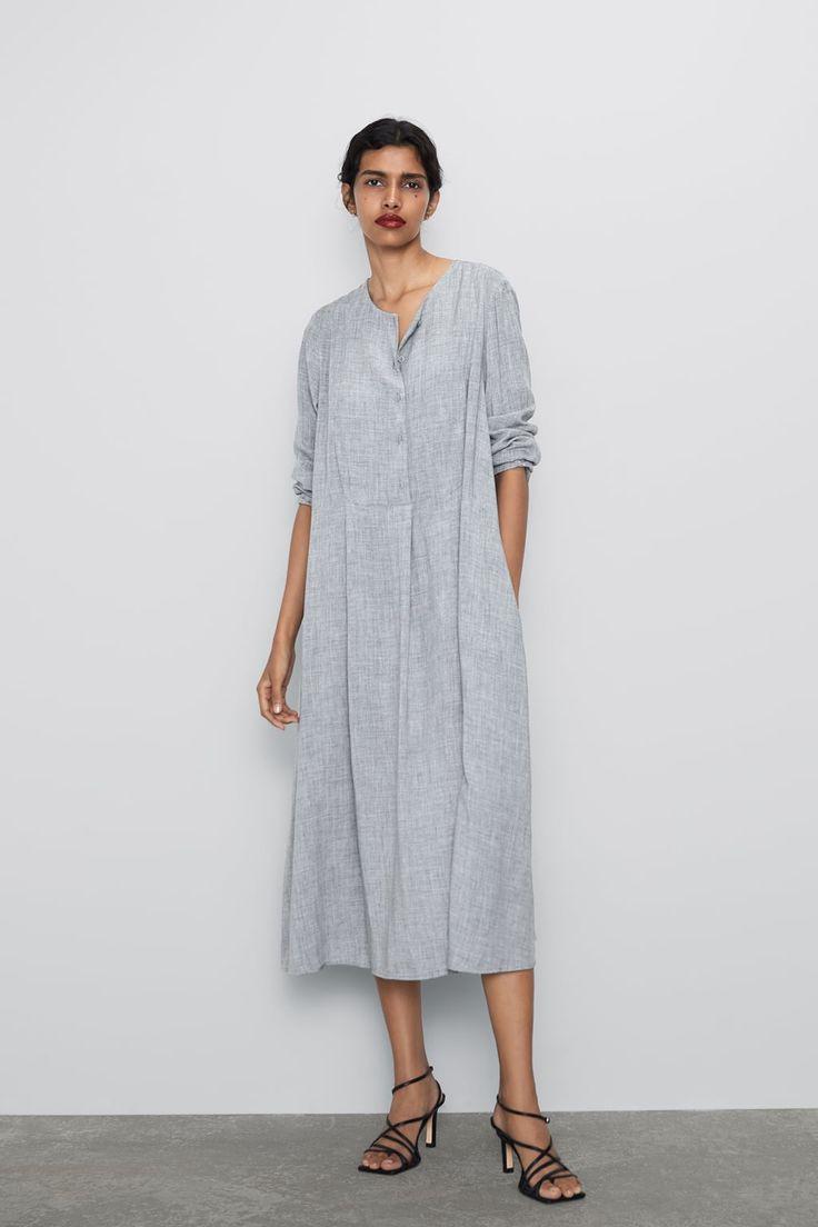 Zara  Woman  Buttoned Dress  Kleider Damen Kleid Mit