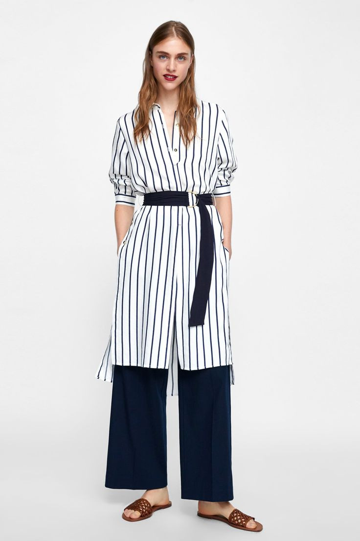 Zara  Woman  Buttoned Dress With Belt  Kleid Mit Gürtel
