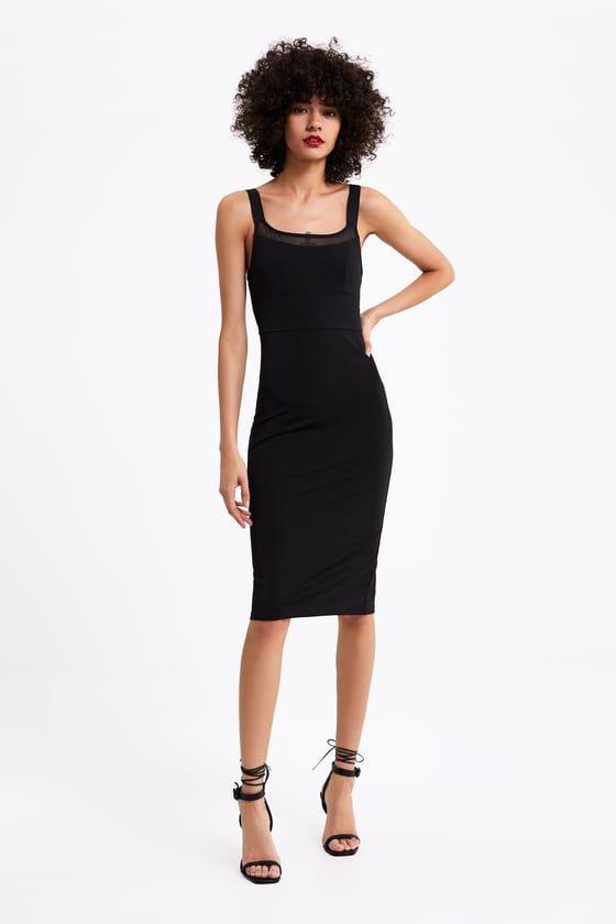 Zara  Woman  Combined Fitted Dress  Taillierte Kleider