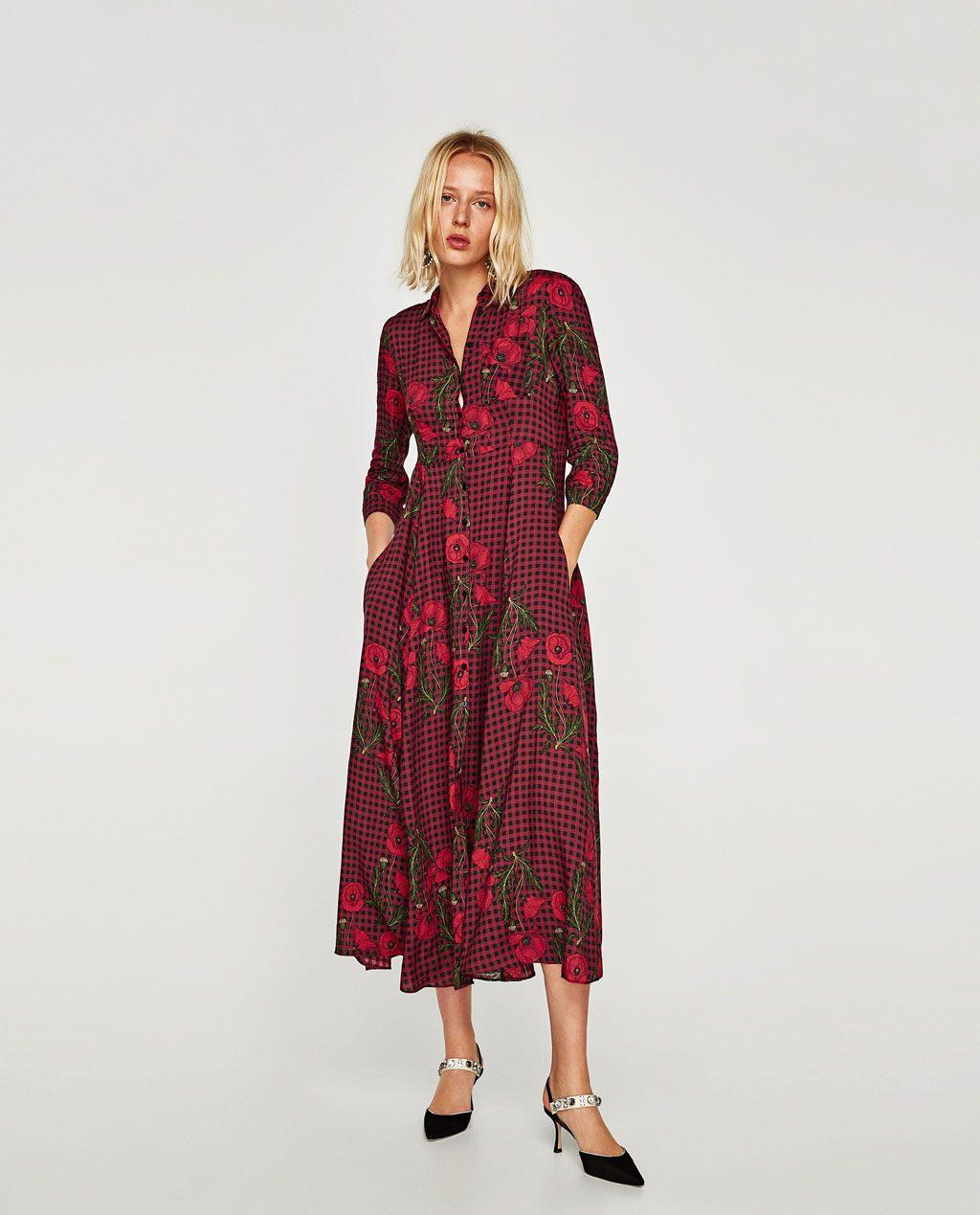 Zara  Woman  Дълга Рокля Тип Риза  Kleider Damen Lange