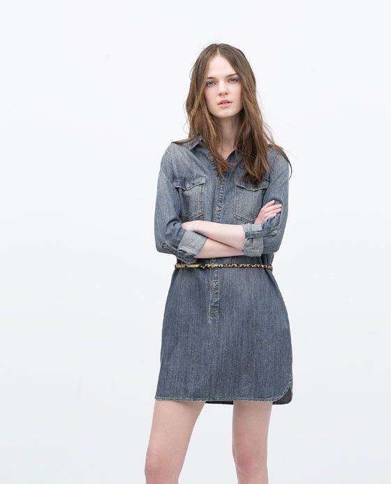 Zara  Woman  Denim Dress With Belt  Womens Denim Dress