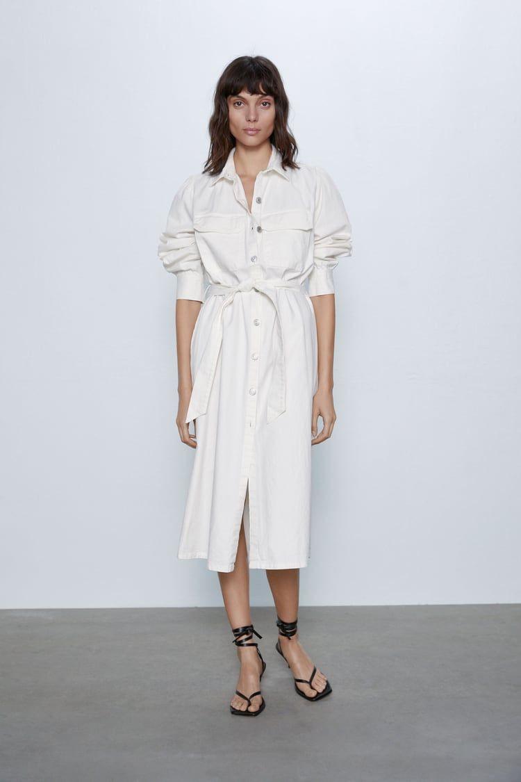 Zara  Woman  Denim Midi Dress  Jeans Kleid Jeanskleid