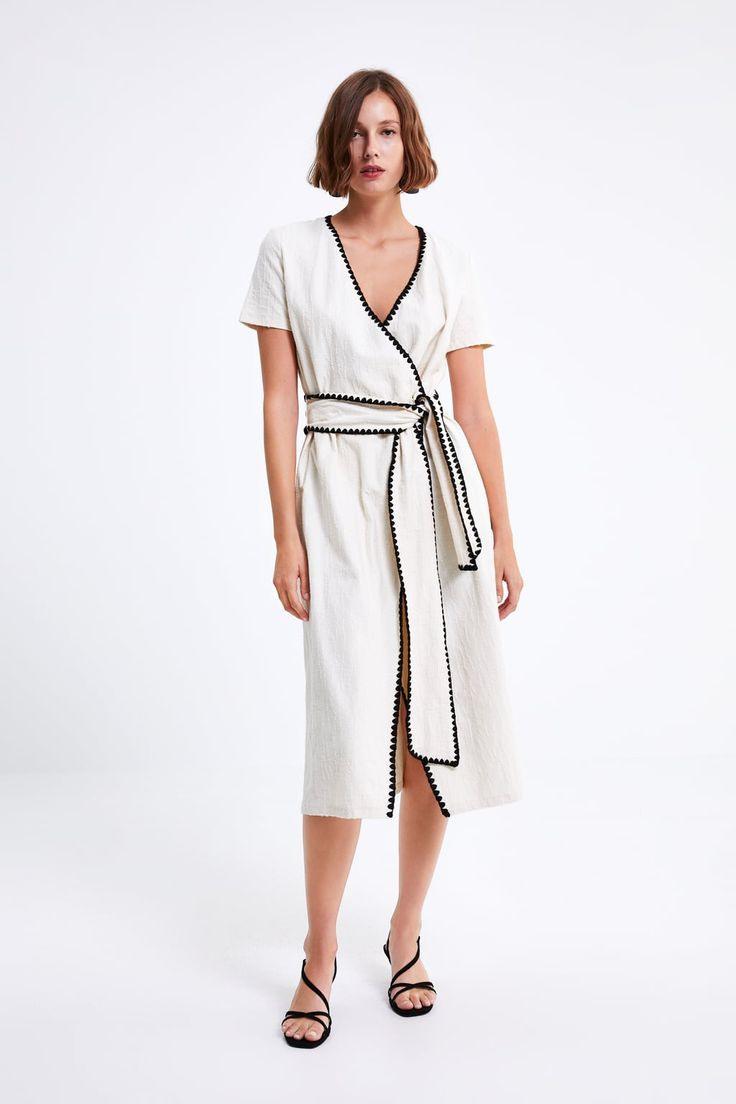 Zara  Woman  Dress With Contrast Topstitching  Lange