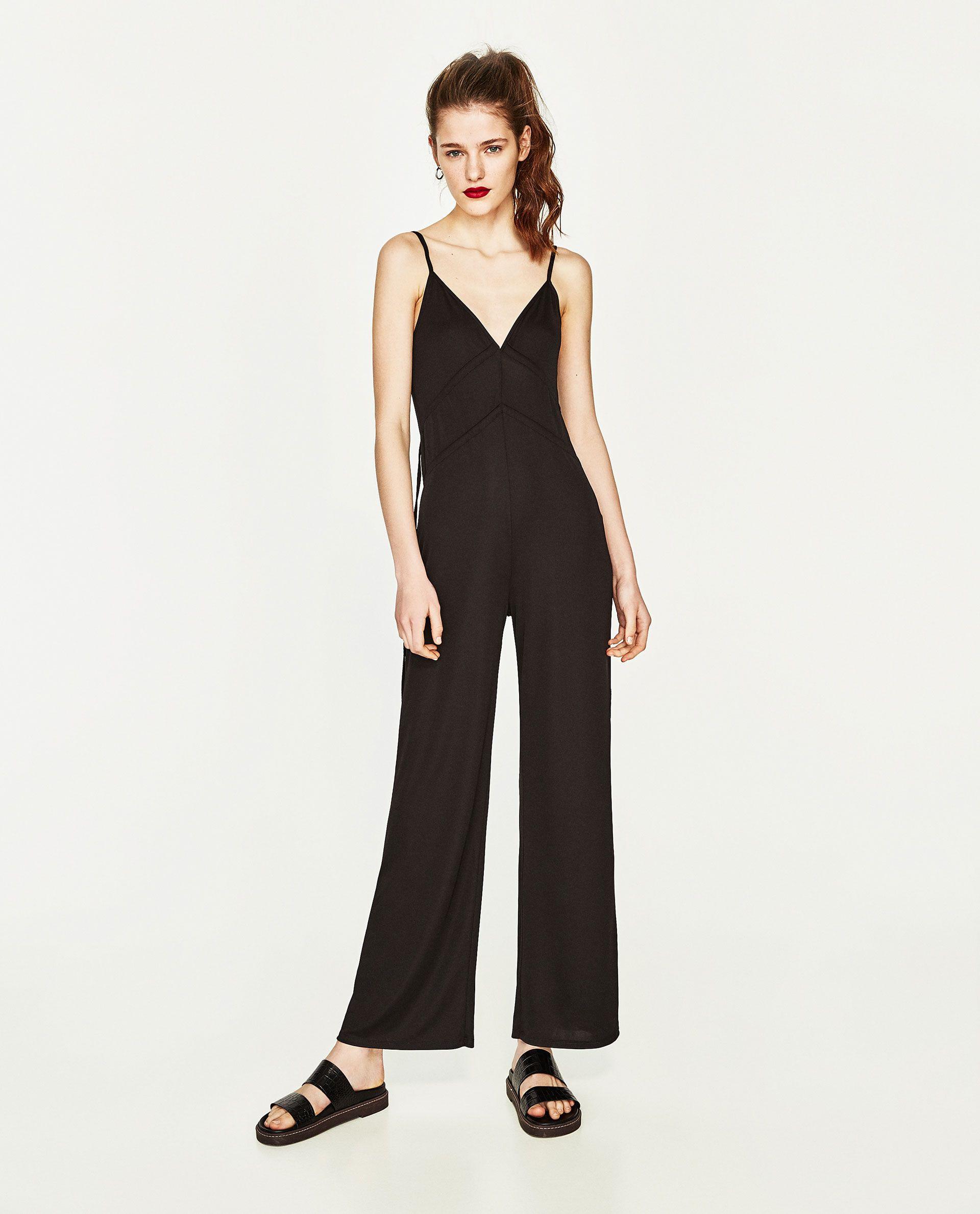Zara  Woman  Long Jumpsuit With Cords  Zara Damen