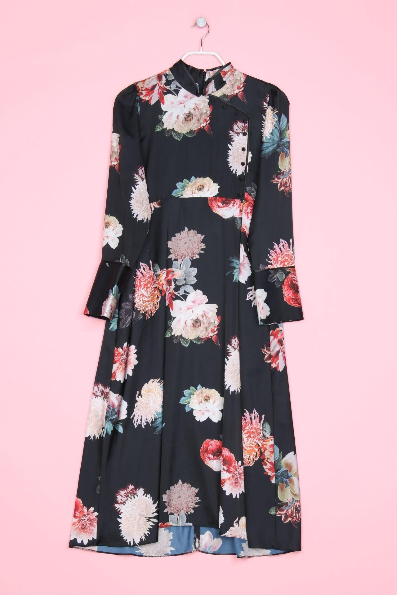 Zara Woman Maxikleid Blumen Print L Multicolor  Ebay
