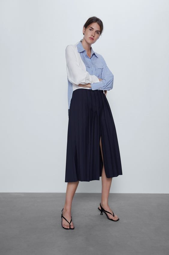 Zara  Woman  Pleated Patchwork Dress In 2020  Patchwork