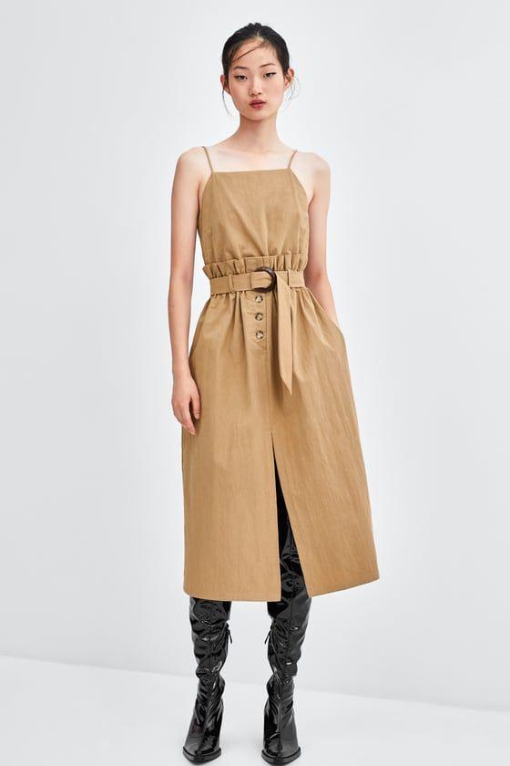 Zara  Woman  Strappy Dress With Belt  Kleider