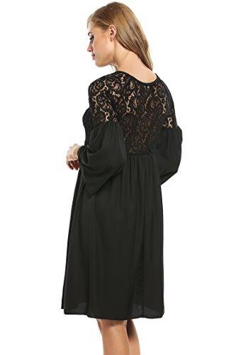 Zeagoo Damen Spitzenkleid Langarm Festliches Kleid