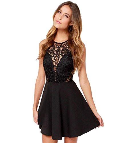 Zezkt☀Spitze Abendkleid Ärmellos Elegantes Cocktailkleid