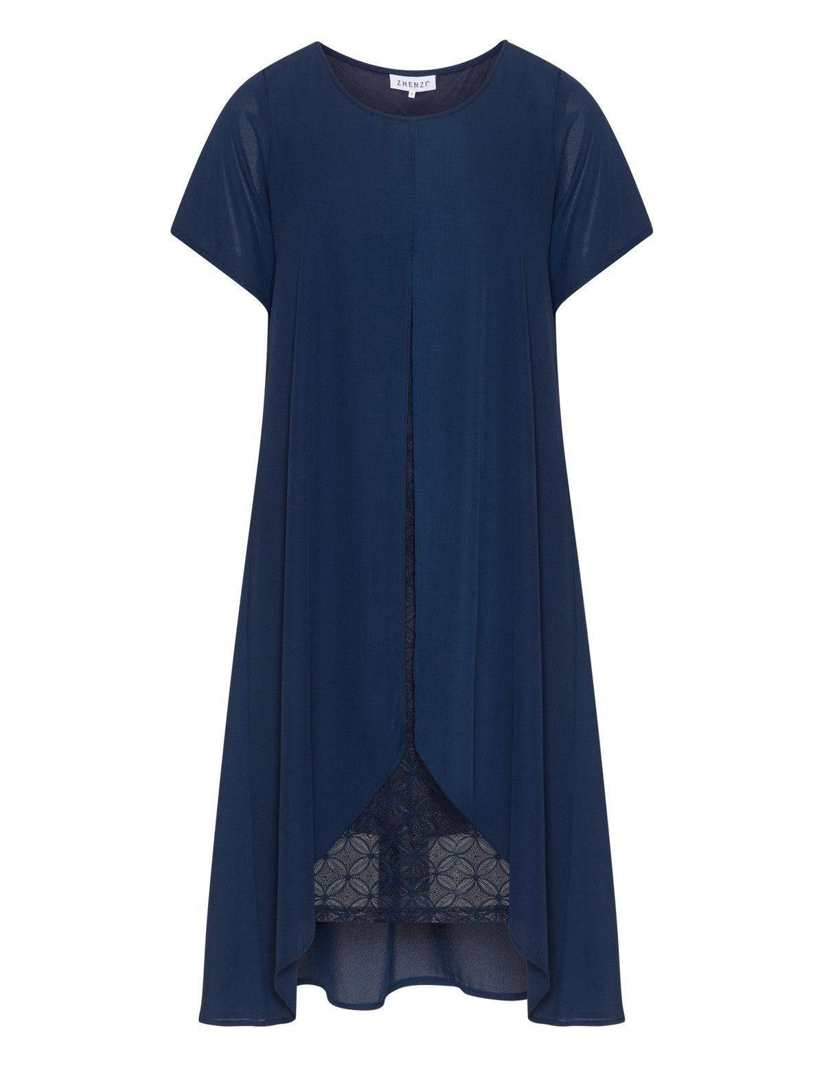 Zhenzi  Kleid Mit Spitze Und Chiffonüberwurf  Navabi