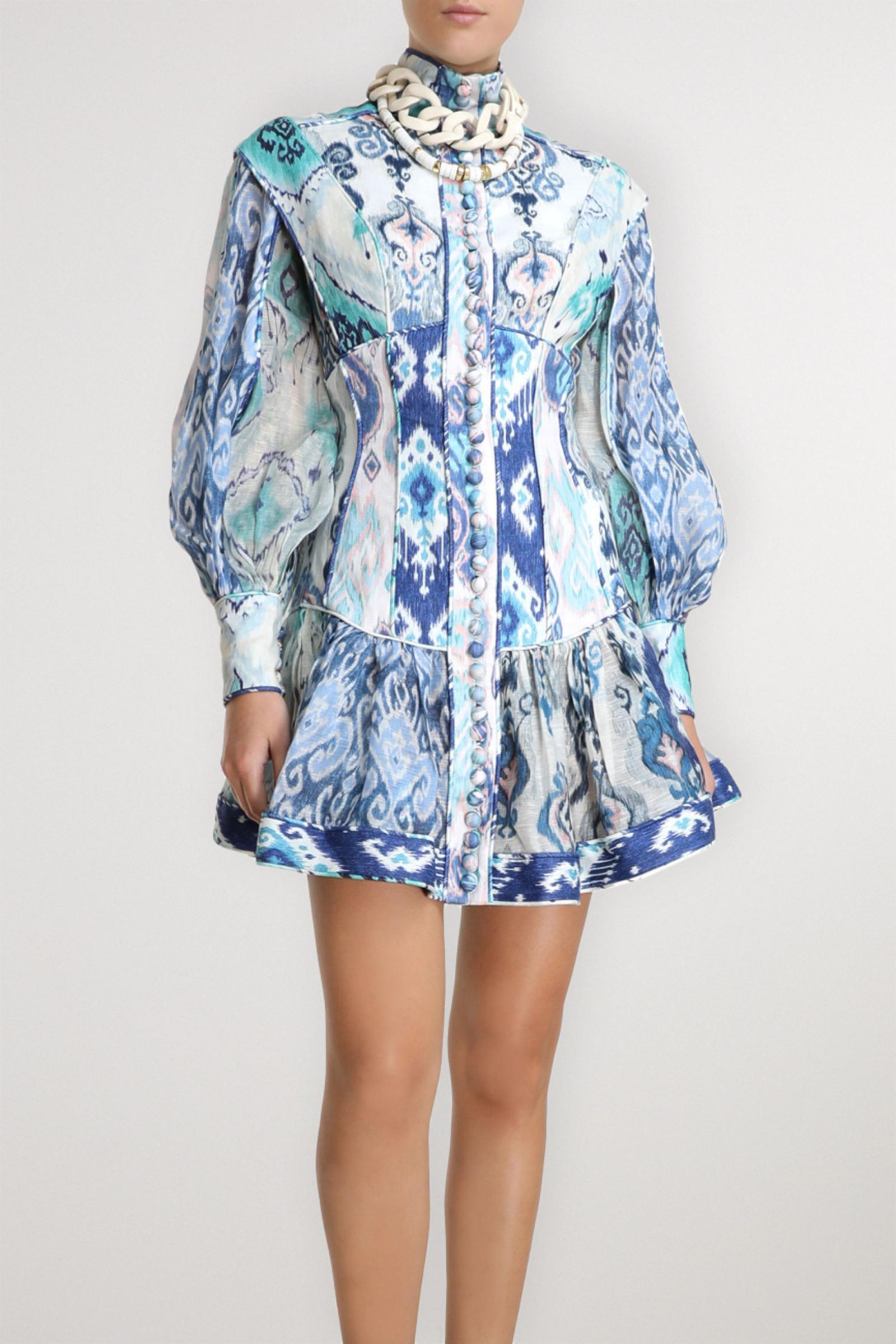 Zimmermann Damen Kleider  Glassy Minikleid Aus Bedrucktem