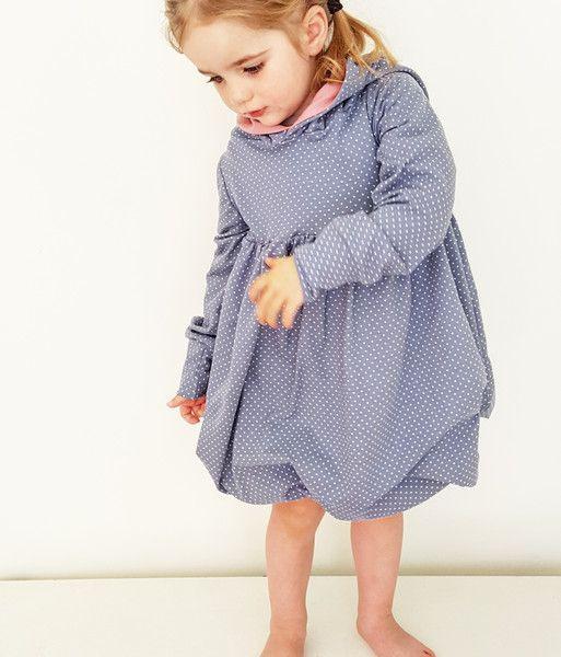 Zipfel Kleid Punkte Grau  Ballonkleid  Kleid Punkte