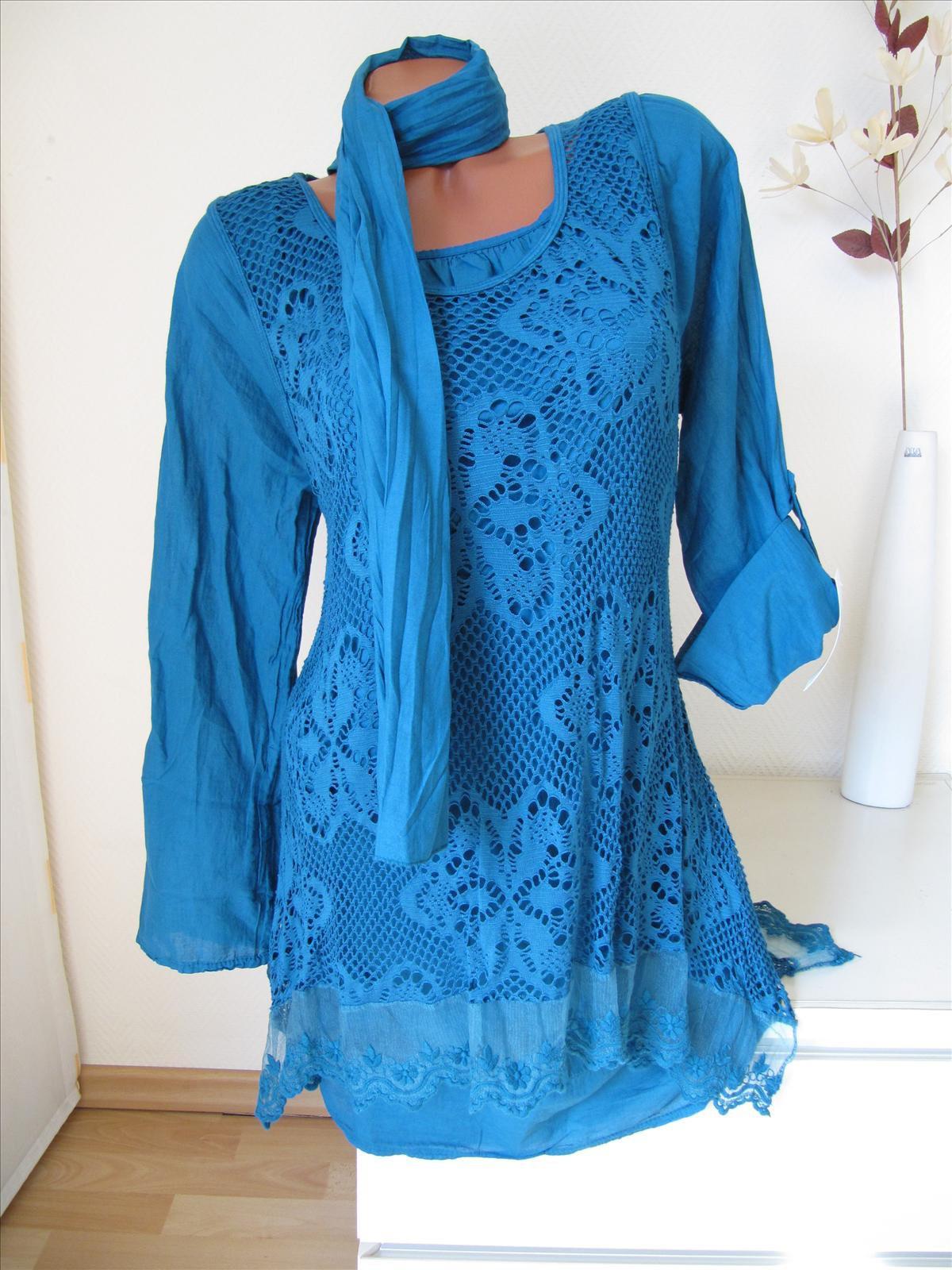 Zipfel Tunika Kleid Spitze Volant Unterkleid Bluse Schal