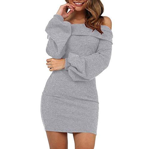 Ziyyoohy Damen Elegant Pulloverkleid Strickkleid Tunika