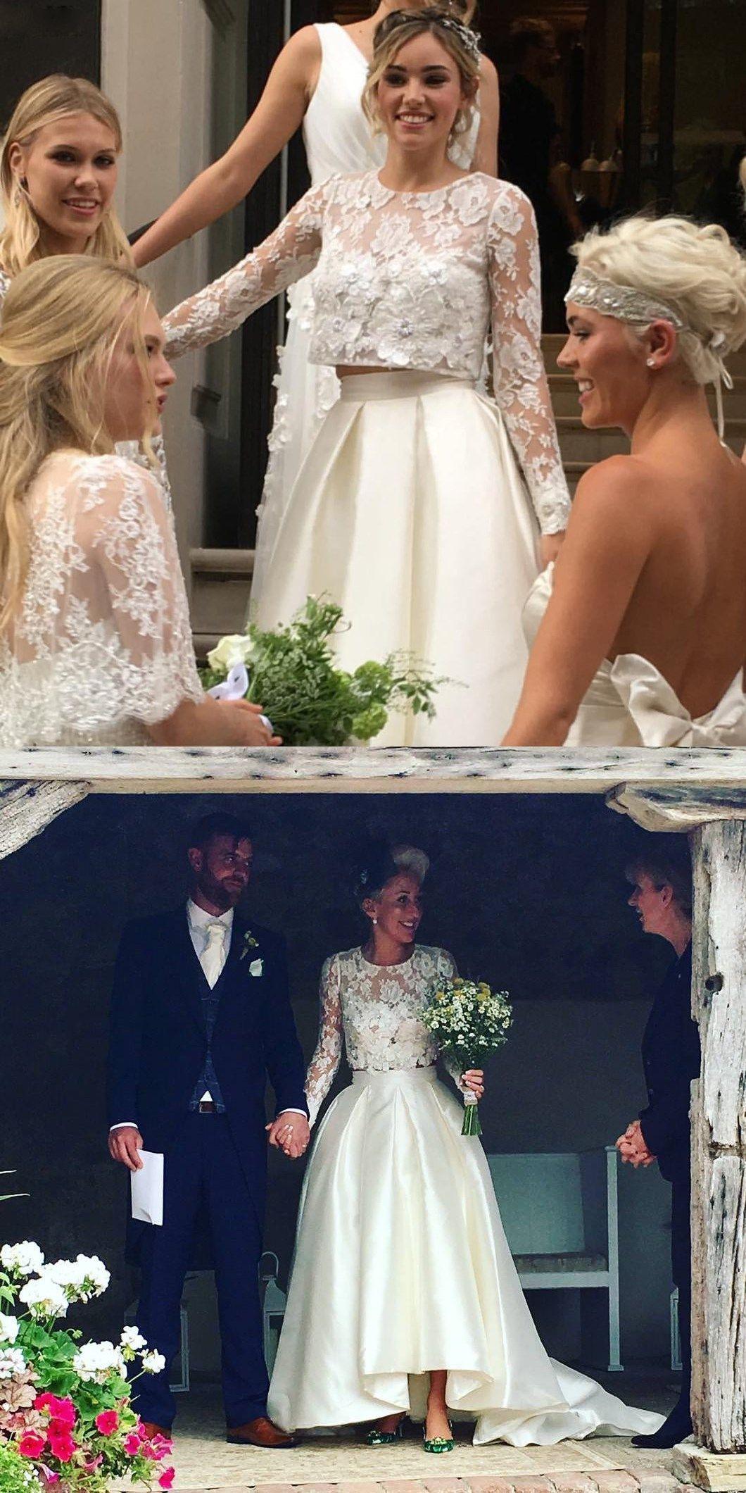 Zwei Stück Hilo Satin Brautkleider Mit Sheer Long Lace