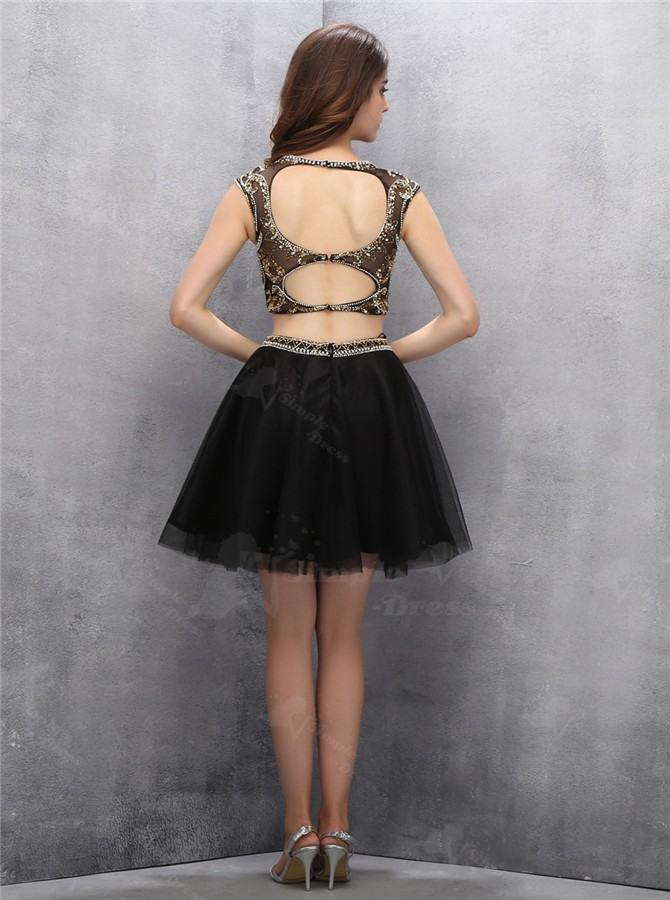 Zweiteiler Öffnen Rücken Kurz Schwarz Heimkehr Kleid Mit