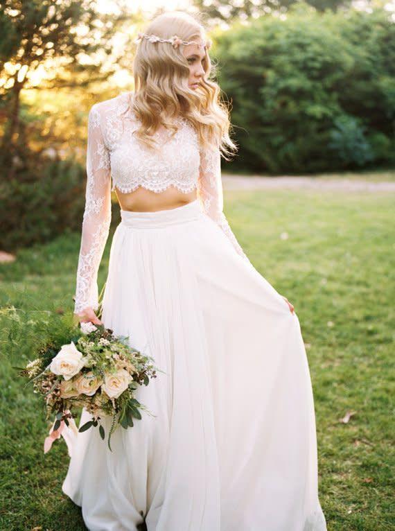Zweiteilige Brautkleider  Rock  Top  Hochzeitskleid