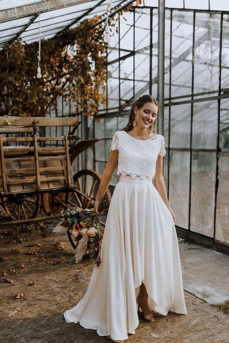 Zweiteilige Brautkleider  Rock  Top In 2020  Kleid