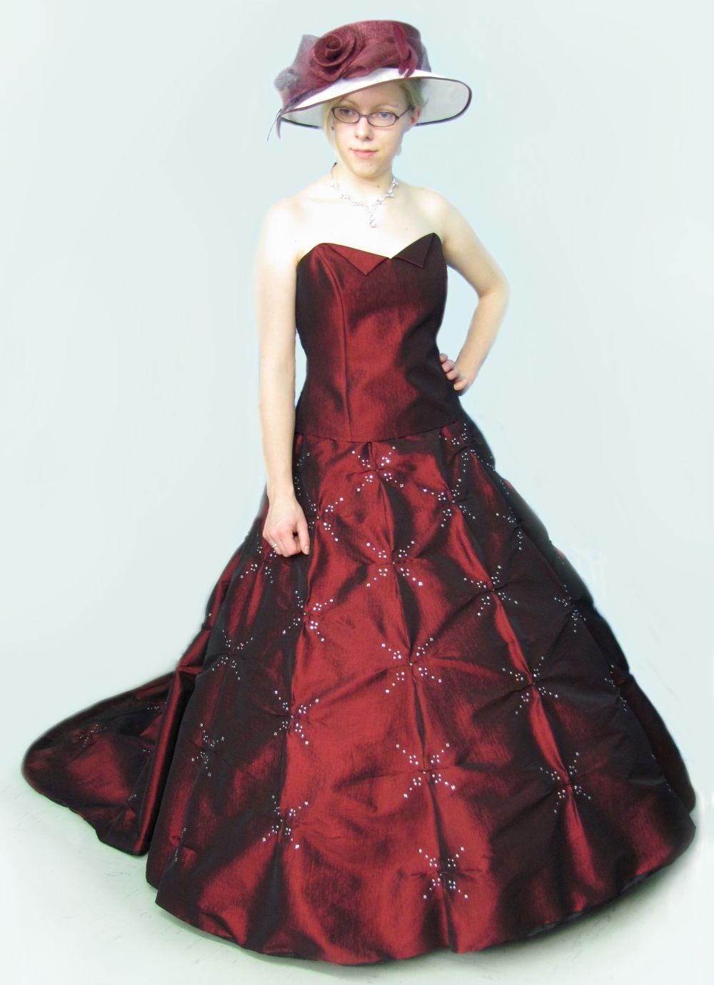 Zweiteiliges Kleid Corsage Und Rock Weinrot Gr 38
