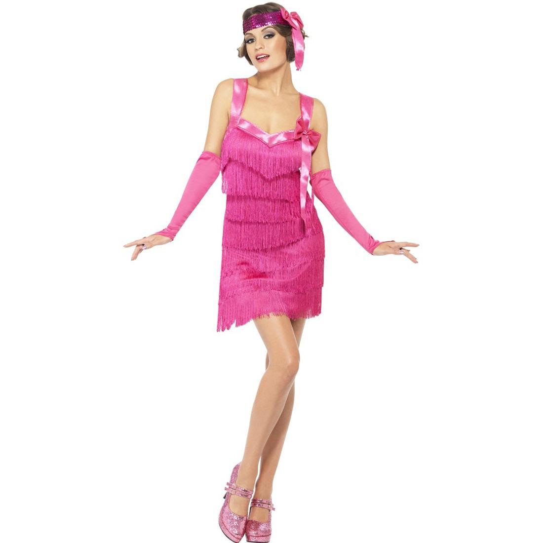 20Er Jahre Charleston Kostüm Pink Flapper Kleid
