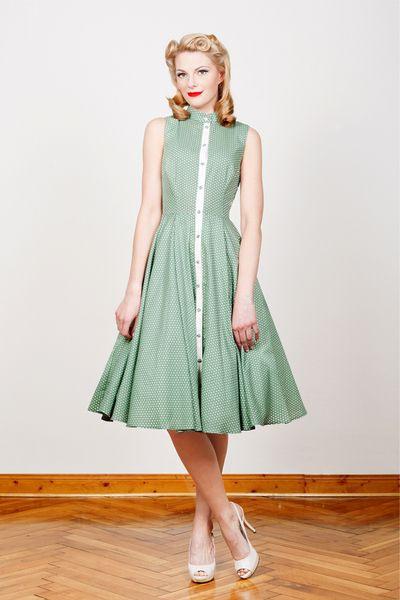 50Er Jahre Kleid Martha Grün Gepunktet Lang  Kleider