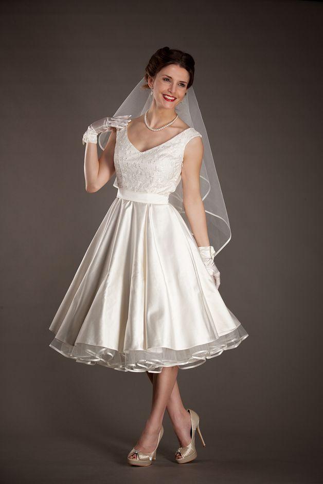 50Er Petticoat Kleid Hochzeit Brautkleid Weiß  Petticoat