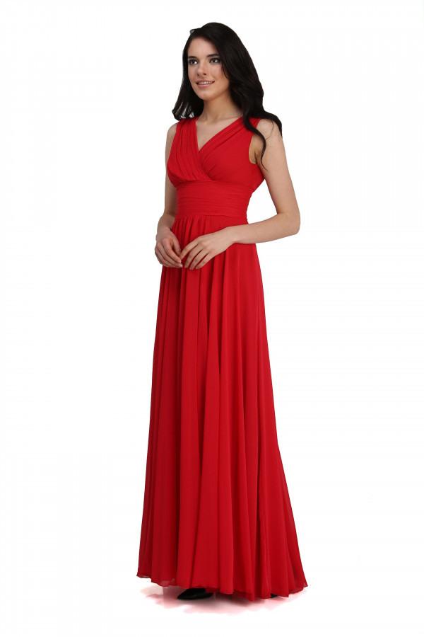6Ixty8Ight Langes Rotes Kleid Aus Chiffon Und Mit Vaus