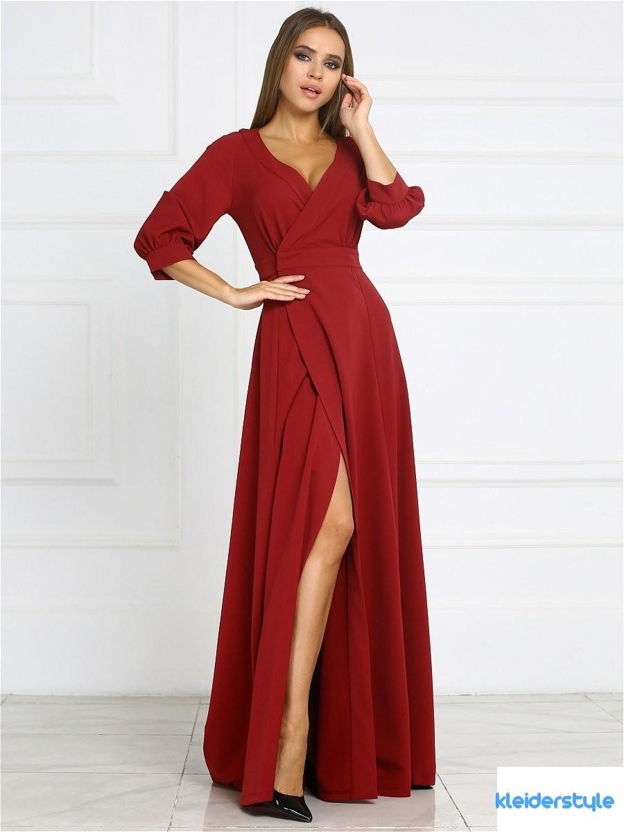 Abend Einfach Kleid Weinrot Hochzeit Design  Abendkleid