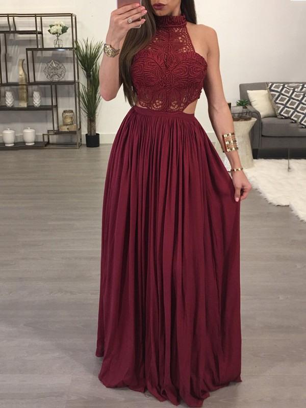 Abendkleider Lang Rot Neckholder  Modische Damenkleider