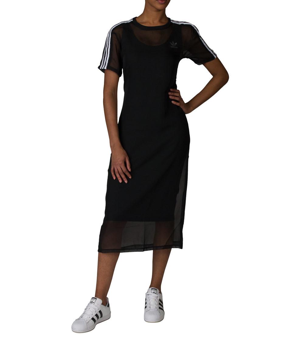 Adidas Originals 3S Layer Dress 2Lagen Midi Kleid Schwarz