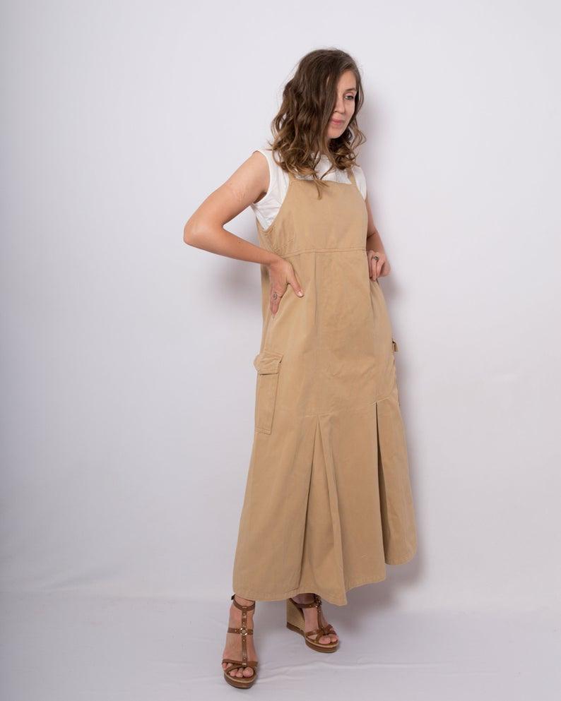 Baumwolle Pinafore Overall Kleid Langes Kleid Tunika