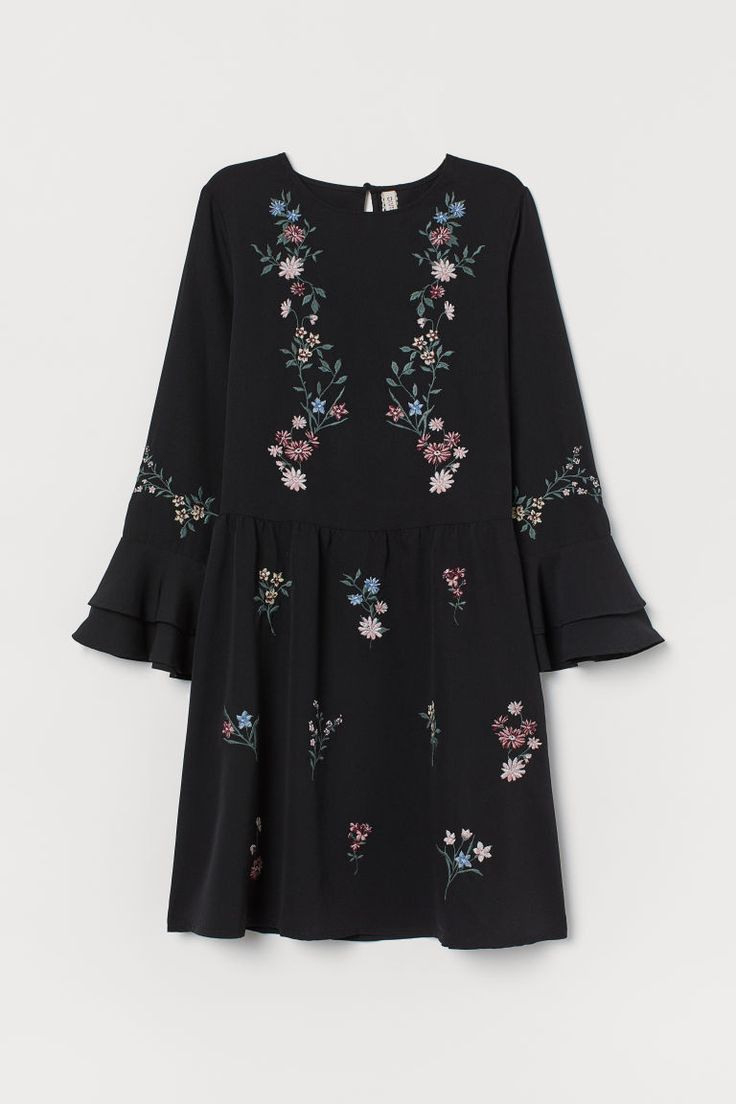 Besticktes Kleid  Schwarz  Ladies  Hm De  Kurze