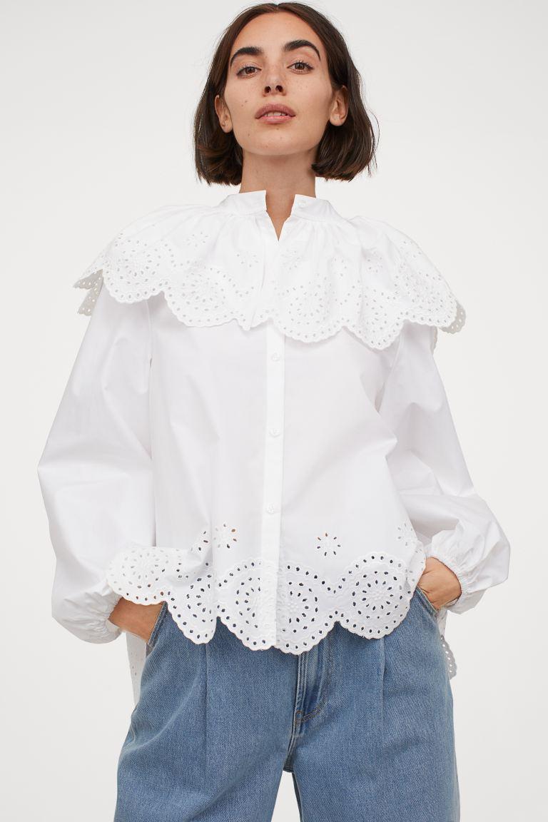 Bluse Mit Broderie Anglaise  Weiß  Ladies  Hm De In
